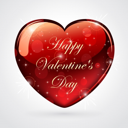 st valentin's day: Illustration of a red shiny valentines heart.