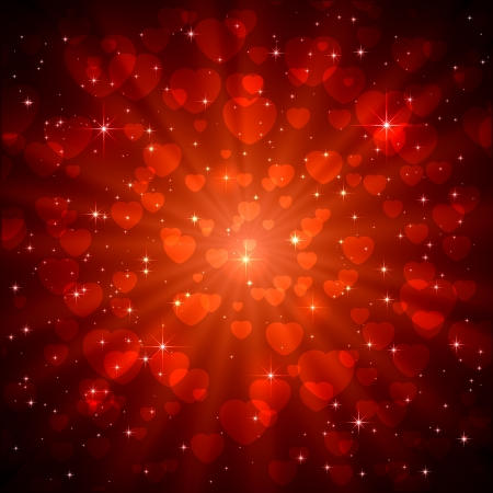 Red sparkling valentines background with heart, illustration. Vector