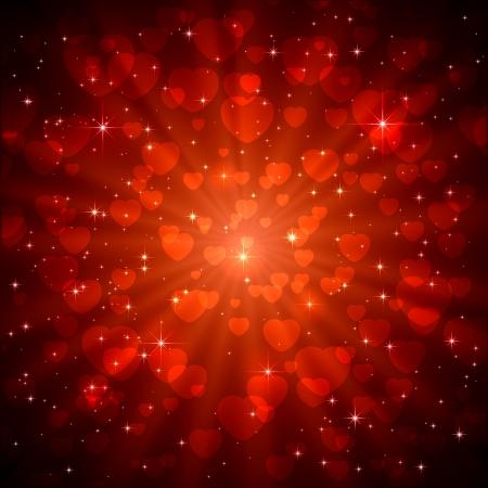 st valentins day: Rosso frizzante San Valentino sfondo con il cuore, illustrazione.