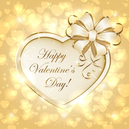 Golden sparkling valentines background with heart and bow, illustration. Stock Vector - 17062304