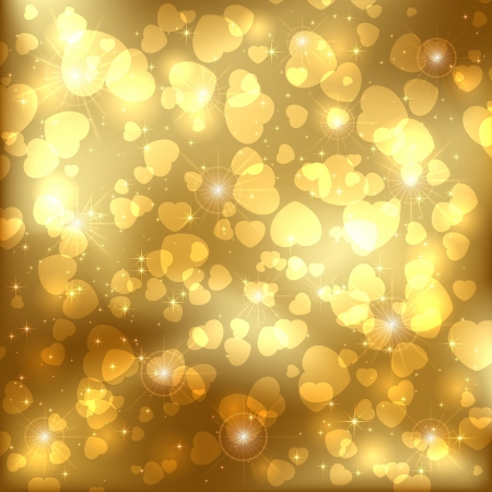 Golden sparkling valentines background with heart, illustration. Vector