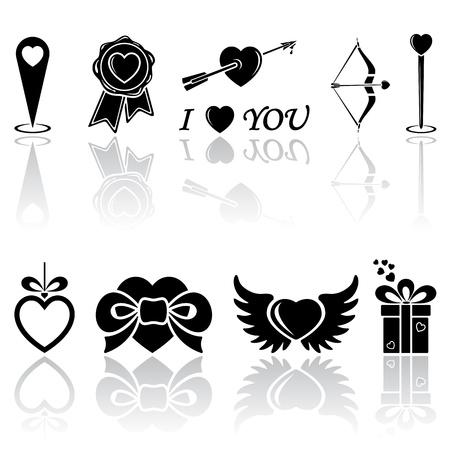 st valentin: Set of black Valentines icons on white background, illustration