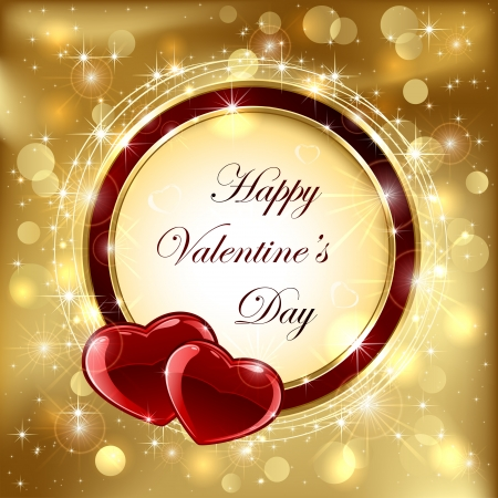 Golden sparkling valentines background with hearts, illustration. Vector