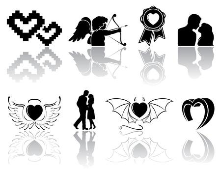 st valentins day: Set di icone di San Valentino nere su sfondo bianco, illustrazione.