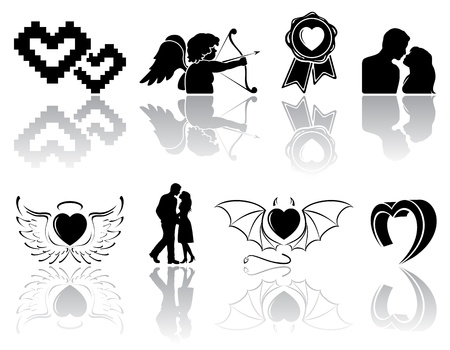 Set of black Valentines icons on white background, illustration. Vector
