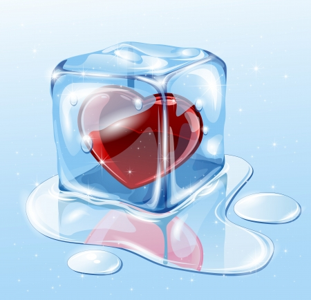 Ice cube on water surface, illustration Vector