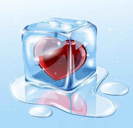 Ice cube on water surface, illustration Stock Vector - 17231465