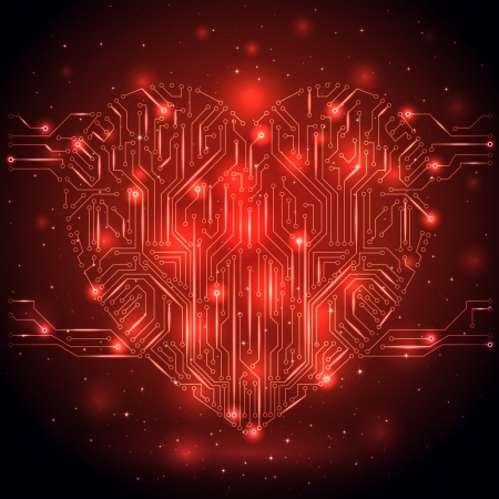 st valentin: Shining Heart from a digital electronic circuit, illustration. Illustration