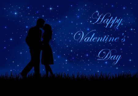 st valentin: Two enamored on the night sky with shining stars, illustration.  Illustration