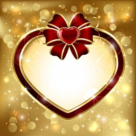 Golden sparkling valentines background with heart, illustration. Vector