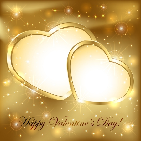 Golden sparkling valentines background with hearts, illustration. Stock Vector - 17323709