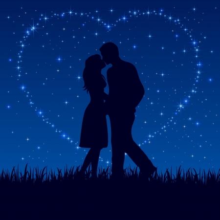Due innamorati sul cielo notturno con stelle lucenti, illustrazione.