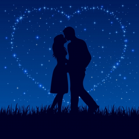 Two enamored on the night sky with shining stars, illustration.  Vector