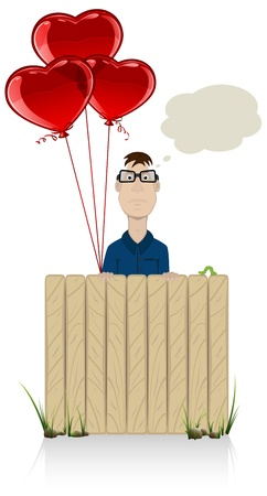 paling: The man with three balloons in the form of heart, illustration. Illustration