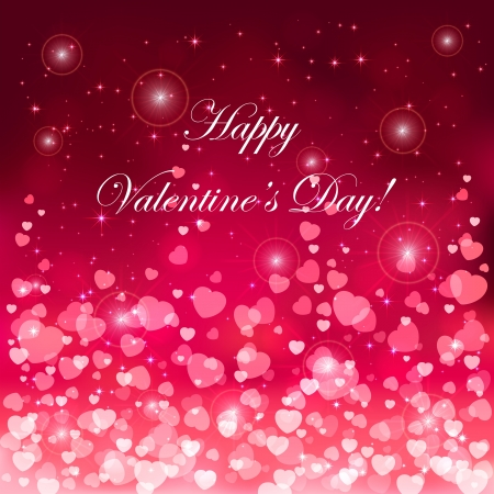 Pink background with blurry hearts, illustration. Vector