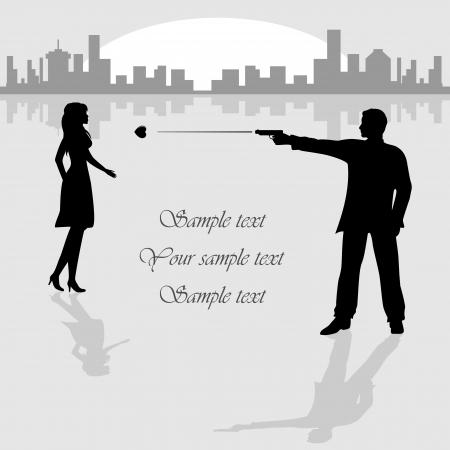 man gun: Woman and man with gun on City background, illustration. Illustration