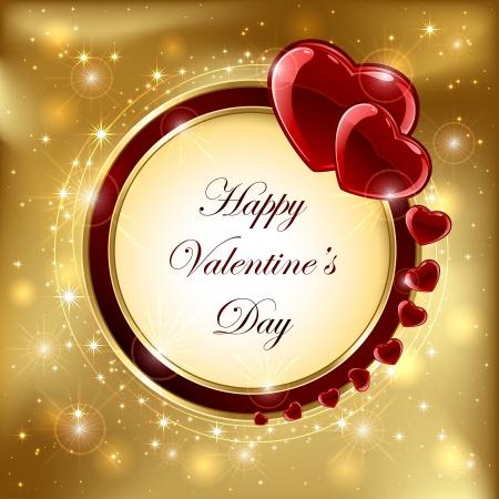 st valentin: Golden sparkling valentines background with hearts, illustration.