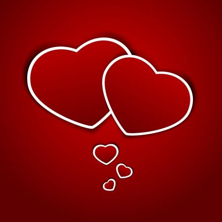st valentin: Paper hearts on a red background, illustration. Illustration