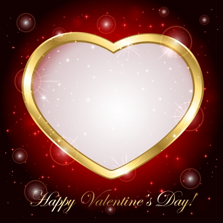romance image: Red sparkling valentines background with golden heart, illustration. Illustration