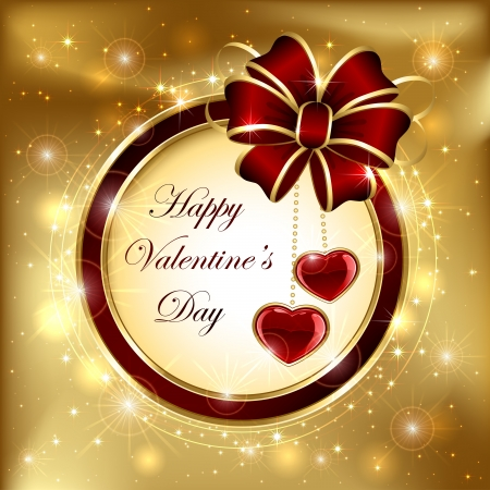 Golden sparkling valentines background with hearts and ribbon, illustration. Stock Vector - 17500611