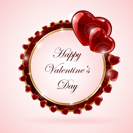Pink valentines background with red shining hearts, illustration  Vector