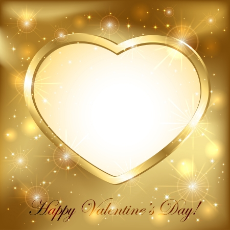 Golden sparkling valentines background with golden heart, illustration  Vector