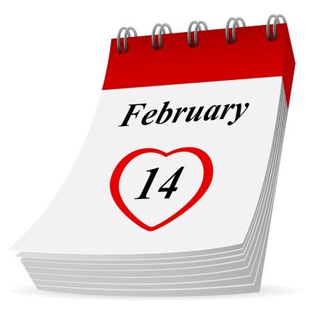 st valentins day: Sull'icona del calendario su sfondo bianco, illustrazione.