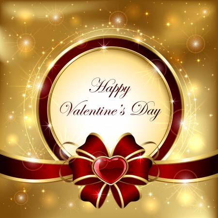st valentin: Golden sparkling valentines background with hearts and bow, illustration.
