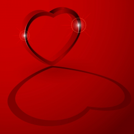 st valentin: Red background with 3D heart, illustration