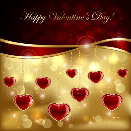 Golden sparkling valentines background with ruby hearts and ribbon, illustration  Stock Vector - 17574692