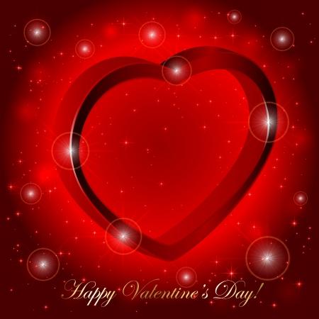 st valentin: Red sparkling valentines background with 3D heart, illustration