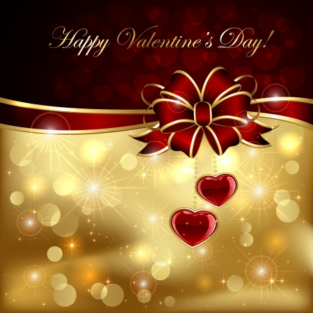 Golden sparkling valentines background with hearts and bow, illustration  Vector