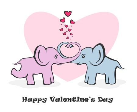 Two enamoured elephants on a white background, illustration  Vector
