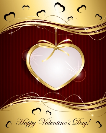 Valentines background with Gold heart and bow, illustration. Vector