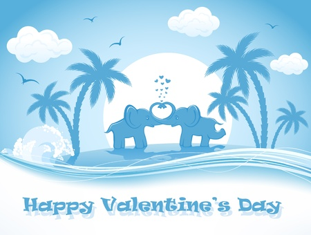 st valentins day: Two enamored elephants on a palm island, illustration.