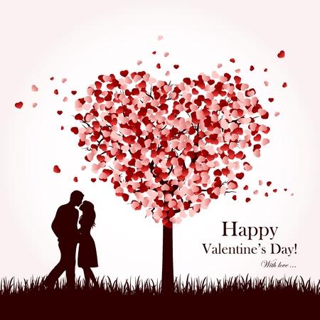 st valentins day: Due innamorati sotto un albero di amore, illustrazione.