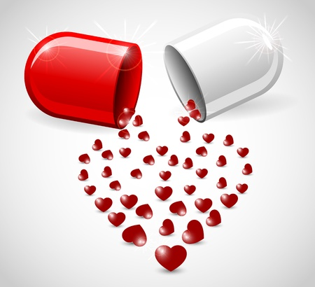 st valentin's day: Love pill with hearts, illustration.