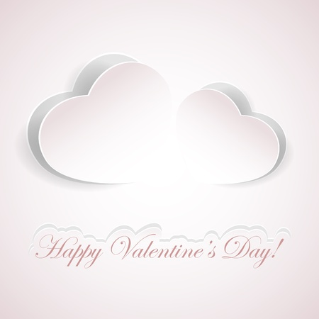 Valentines background with paper hearts, illustration.  Vector