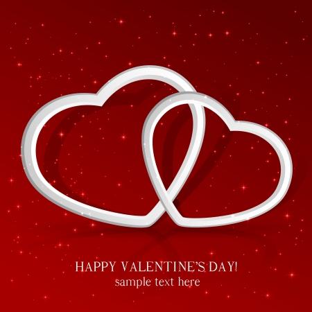 st valentin: Red sparkling valentines background with 3D hearts, illustration. Illustration