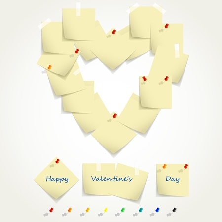 st valentin: Set of post it notes in the form of heart and multicolored pins, illustration.