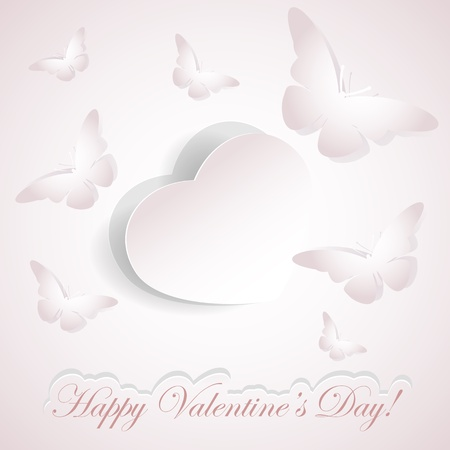 february 14th: Valentines background with paper heart and butterflies, illustration.  Illustration