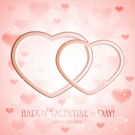 st valentin: Pink sparkling valentines background with 3D hearts, illustration.