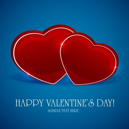 st valentin: Blue valentines background with 3D hearts, illustration. Illustration