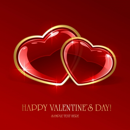 st valentin: Red valentines background with two glossy hearts, illustration