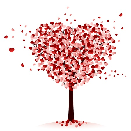 Love tree on white background, illustration