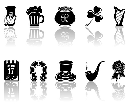 Set of black icons on a white background, illustration. Vector