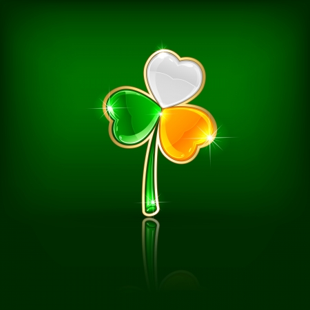 Three-colored clover leaf on green background, illustration. Vector