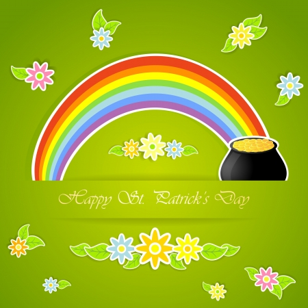 Rainbow and pot with gold on green background, illustration. Vector