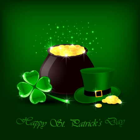 march 17: Clover, hat and pot with gold on green background, illustration.
