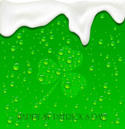 condensation on glass: Drops on Green Beer background, illustration